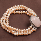 Beautiful Double Strand Round Rose Quartz Beads Elastic Bracelet With Fox Pendant
