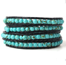 Nice Multilayer 4mm Blue Turquoise Hand Knotted Black Leather Wrap Bracelet
