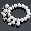 Charming 12mm Round White Porcelain Stone Beaded Bracelet With Tibet Silver Triangle Leaf Charm Accessories