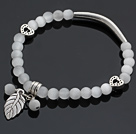 Beautiful Round Gray Cats Eye And Tibet Silver Tube Heart Leaf Charm Beaded Bracelet