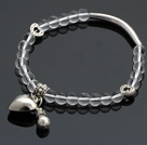 Nice White Round Crystal And Tibet Silver Tube Heart Lucky Bag Charm Beaded Bracelet