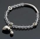 Nice White Round Crystal And Tibet Silver Tube Heart Lucky Bag Charm Beaded Bracelet