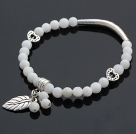 Fashion Round White Shell And Tibet Silver Tube Heart Leaf Charm Beaded Bracelet