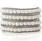 Fashion Multilayer Natural 5-6mm White Freshwater Pearl Hand-Knotted Gray Leather Wrap Bracelet