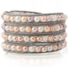 Fashion Multilayer Natural 5-6mm White Pink Purple Freshwater Pearl Hand-Knotted Gray Leather Wrap Bracelet