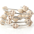 Fashion Multilayer White Skull Turquoise Wired Wrap Bangle Bracelet