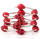 Fashion Multilayer Red Skull Turquoise Wired Wrap Bangle Bracelet