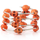 Nice Multilayer Orange Skull Turquoise Wired Wrap Bangle Bracelet