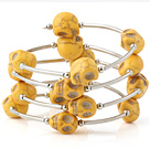 Nice Multilayer Yellow Skull Turquoise Wired Wrap Bangle Bracelet