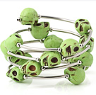 Nice Multilayer Olive Green Skull Turquoise Wired Wrap Bangle Bracelet