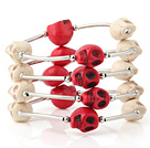 Charming Multilayer White And Red Skull Turquoise Wired Wrap Bangle Bracelet
