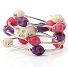 Beautiful Multilayer White Red And Purple Skull Turquoise Wired Wrap Bangle Bracelet