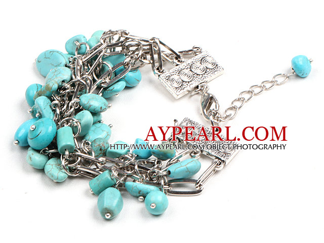 Fashion Multi Strand Different Shape Turquoise Beads Charm Bracelet