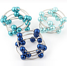 Fashion 3 Pcs 12mm Blue Series Round Seashell Beads Wired Wrap Bangle Bracelet