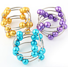 Fashion 3 Pcs 12mm Golden Purple And Blue Round Seashell Beads Wired Wrap Bangle Bracelet