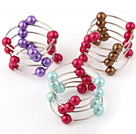 Fashion 3 Pcs 12mm Multi Color Round Seashell Beads Wired Wrap Bangle Bracelet