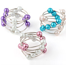 Beautiful 3 Pcs 12mm Multi Color Round Seashell Beads Wired Wrap Bangle Bracelet