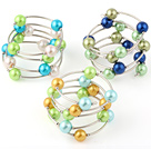 Pretty 3 Pcs 12mm Multi Color Round Seashell Beads Wired Wrap Bangle Bracelet