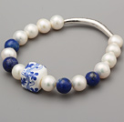 Elegant A Grade Natural White Freshwater Pearl Lapis And Carved Flower Porcelain Bracelet With Tube Charm
