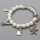 Fashion 8.5-9mm A Grade Natural White Freshwater Pearl Beads Bracelet With Fish Leaf Starfish Charm Accessories