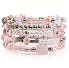 Fashion Multilayer Pink Freshwater Pearl And Double Color Crystal Wired Wrap Bangle Bracelet With Silver Round Beads