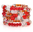 Fashion Multilayer White Blister Freshwater Pearl And Multi Color Crystal Wired Wrap Bangle Bracelet With Silver Color Round Beads