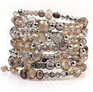 Fashion Multilayer Blister Freshwater Pearl And Multi Color Crystal Wired Wrap Bangle Bracelet With Silver Color Round Beads