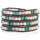 Fashion Multilayer 4mm Blue Turquoise White Freshwater Pearl And White Crystal Brown Leather Wrap Bracelet