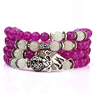 Lovely Multilayer Round Rose And White Candy Jade Stretch Bangle Bracelet With Tibet Silver Elephant Charms