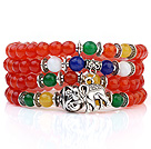 Härlig Multilayer Runda Orange Och Färgglada Candy Jade Stretch ARMRING armband med Tibet Silver Elephant Charms