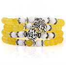 Lovely Multilayer Round Yellow Candy Jade And White Porcelain Beads Stretch Bangle Bracelet With Tibet Silver Elephant Charms