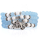 Lovely Multilayer Round Sky Blue Candy Jade And White Porcelain Beads Stretch Bangle Bracelet With Tibet Silver Elephant Charms