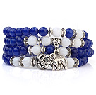 Lovely Multilayer Round Deep Blue Candy Jade And White Porcelain Beads Stretch Bangle Bracelet With Tibet Silver Elephant Charms