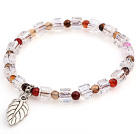 Lovely Faceted Round Colorful Agate And White Square Crystal Beads Bracelet With Leaf Charm