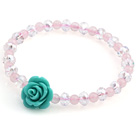 Lovely Round Rose Quartz And Faceted White Crystal Beads Green Flower Bracelet