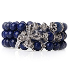 Wholesale Fashion Style Popular Multi Strands Natural Round Lapis Beads Bracelet With Tibet Silver Cross Accessory