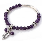 Fashion Faceted Round Amethyst Beaded Bracelet With Tibet Silver Tube Heart And Leaf Charm Accessories