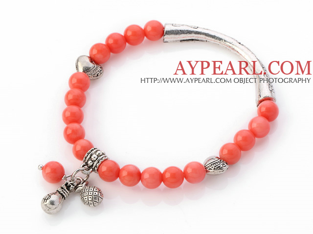 Lovely 7mm Round Pink Coral Beaded Bracelet With Tibet Silver Tube Heart And Lucky Bag Charms