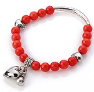 Nydelig 7mm Round Red Coral Beaded armbånd med Tibet Silver Tube Heart And Lucky Bag Charms