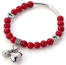 Lovely 7mm Round Red Coral Beaded Bracelet With Tibet Silver Tube Heart And Lucky Bag Charms