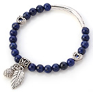 Lovely Round Lapis Stone Beaded Bracelet With Tibet Silver Tube Heart And Leaf Charms