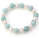 Elegant Natural White Freshwater Pearl And Round Amazon Stone Beads Elastic Bracelet