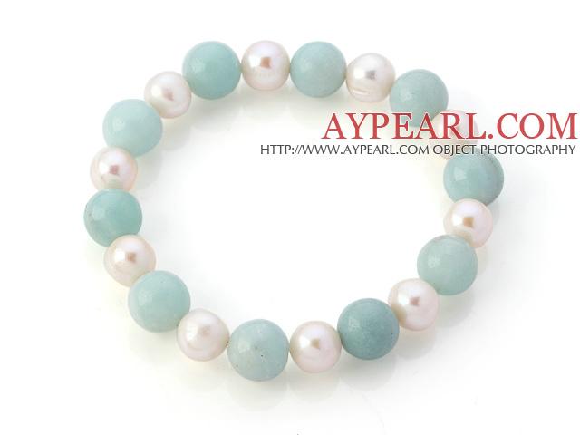 Elegant Natural White Freshwater Pearl And Round Amazon Stone Beads Elastic Bracelet