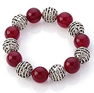 Fantastic 14mm Round Rose Agate And Hollow Tibet Silver Ball Elastic Beaded Bracelet