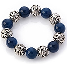 Fantastic 14mm Round Blue Agate And Hollow Tibet Silver Ball Elastic Beaded Bracelet