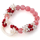 Wholesale New Design Cluster White Freshwater Pearl And Round Bloodstone And Facted Round Cherry Quartz Hollow White Shell Connected Stretch Bracelet