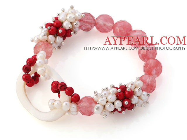 New Design Cluster White Freshwater Pearl And Round Bloodstone And Facted Round Cherry Quartz Hollow White Shell Connected Stretch Bracelet