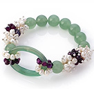 New Design Cluster White Pearl Faceted Purple Agate And Round Hollow Aventurine Link Connection Stretch Bracelet