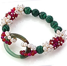New Design Cluster White Pearl Faceted Rose Agate Peacock And Green Hollow Agate Link Connected Stretch Bracelet