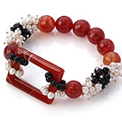 New Design Cluster White Pearl And Faceted Round Black Red Agate With Hollow Rectangle Connection Elastic Bracelet